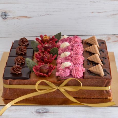 Szivárvány torta - kocka 4x4